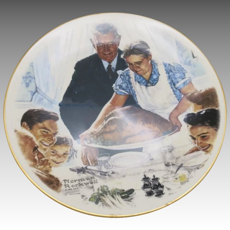 norman rockwell thanksgiving plate decorative unsigned beauty