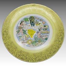 Hawiian plate souvenir Porcelain Maps Dancer
