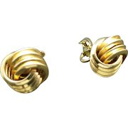 Trifari earrings Gold tone Knots Clip on Classic