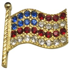 USA flag pin Vintage NOS Red white and BLUE