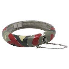 Bangle bracelet eisenberg enamel Red Black grey