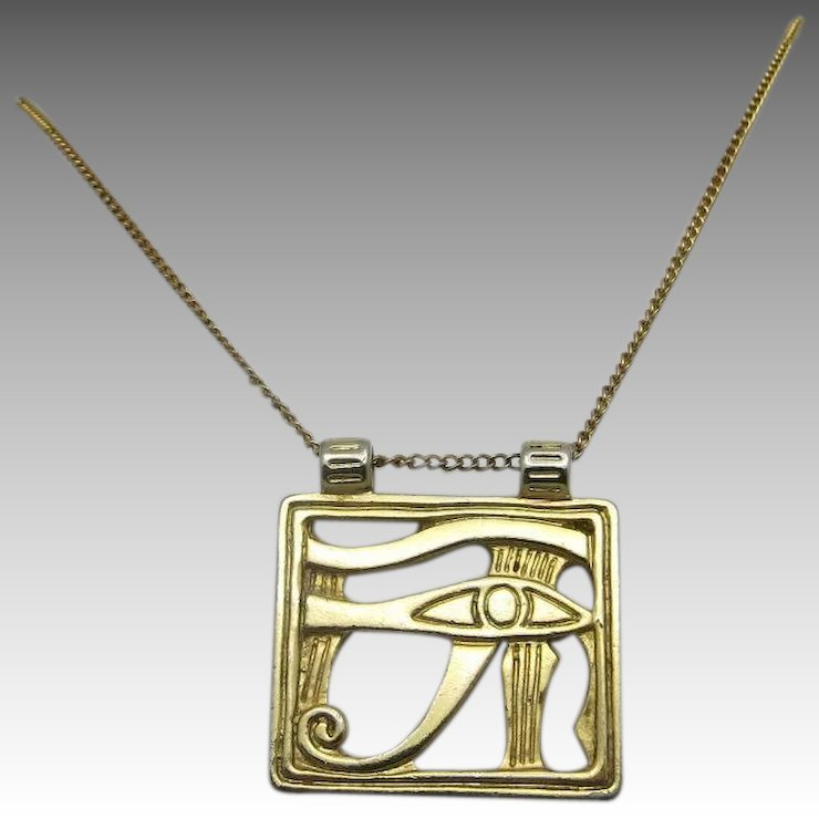 Egyptian eye of horus pendant gold tone metal unsigned beauty egyptian eye of horus pendant gold tone metal mozeypictures Image collections