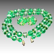 Faceted green Beads Plastic earrings and Necklace