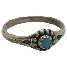 baby ring Sterling silver Turquoise stone Southwestern