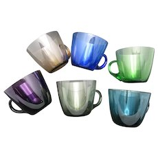 MCM Barware Punch Bowl Colored glass cups