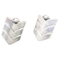 Los Castillos earrings Sterling silver Chevron pattern