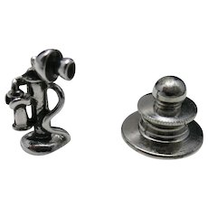 Telephone tie tack Candlestick style silver tone
