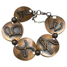 Copper bracelet Large round links mid century modern