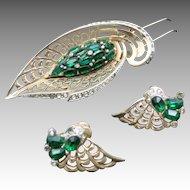 BOUCHer pin and earrings Green rhinestones