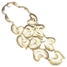 Modernist necklace HUGE BIB Silvana Italy GOld tone brass