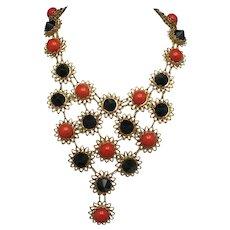 Castlecliff necklace large vintage bib black orange