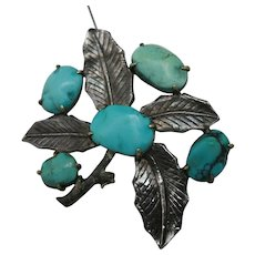 Chinese Turquoise pin Silver Leaf Export