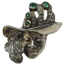 Sterling Pin Woman wearing HAT Rhinestones