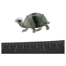 Eisenberg Turtle pin Silver tone Grey marble glass stone