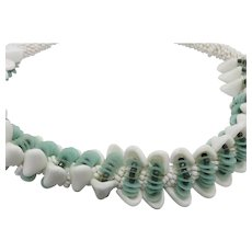 Fancy beaded necklace Blue white green fifties