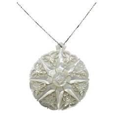 Lovely carved Mother of pearl Pendant Sterling chain Intricate