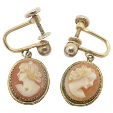 Cameo earrings Carved shell Yellow gold filled Dainty vintage