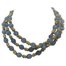 Trifari necklace triple strand Nubby blue beads Choker