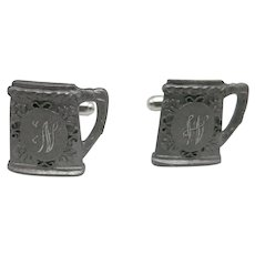 Beer stein cufflinks Pewter W Monogram in Box