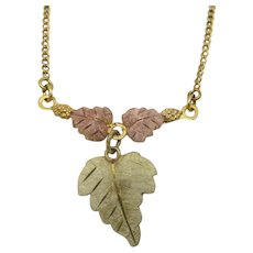 Black Hills Gold Necklace 12 Karat Yellow and Pink Leaf pendant
