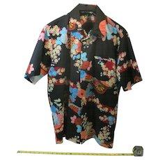 Vintage Aloha shirt Liberty HOUSE Malahini Bright colors dark background