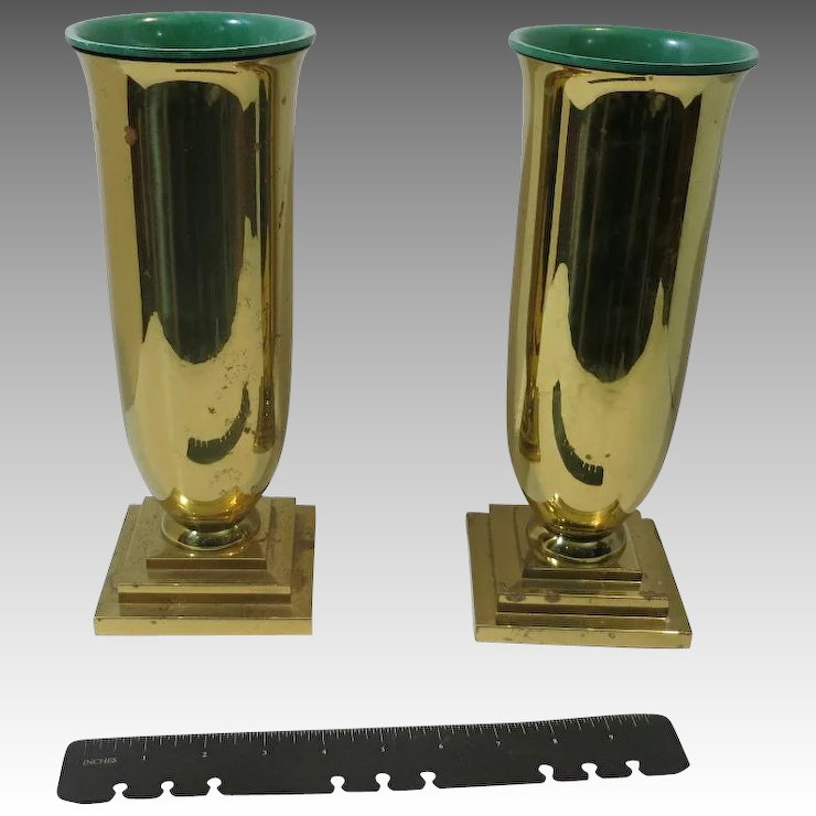 Heavy Brass Vases Church Alter Grave Sudbury Churchware Unsigned