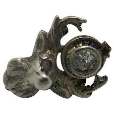 BPOE elks club Fraternal PIN Diamond RUBY Lapel pin