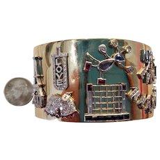 Retro Diamond Gem Set Charm Gold Cuff Bracelet