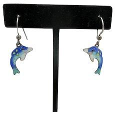 Dolphin Earrings Pierced Blue Enamel Sterling silver