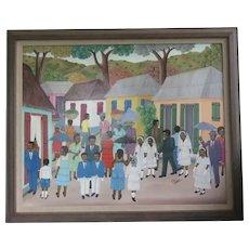Haitian Painting A. Altidor First Communion Oil Framed