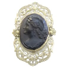 Cameo Pin Black Pressed glass Stamped Metal