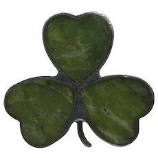 Clover pin Celtic Irish Connemara Marble Sterling silver