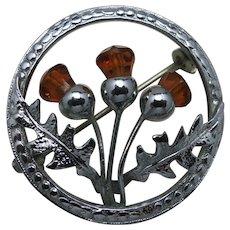 Thistle pin Mizpah Amber glass stones Silver tone
