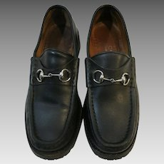 Gucci Loafers Black Leather USED Italy Silver horse bit