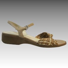 Ferragamo flat sandals Vintage Woven leather tan beige