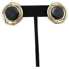 Black Onyx EARRINGs 14 Karat yellow Gold Pierced intaglio