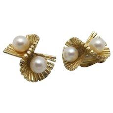 Estate earrings Cultured Pearl 14 Karat Yellow GOLD Ruffle