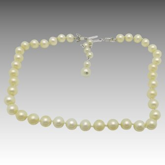 Trifari Necklace Fake Pearls Slim Strand Brides