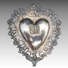 votive Heart Sterling silver Milagro Cherub Flames