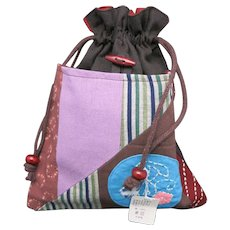 Cloth bag Japanese cotton Drawstring Embroidered NWT