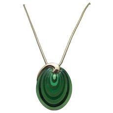 Eisenberg enamels Pendant and chain green swirls