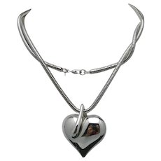 Heart Necklace Large silver tone snake chain MONET