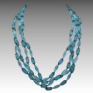 Italian glass necklace Blue murano BEADS Earrings
