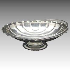 Silver plated fruit bowl Basket handle Monogram 1917