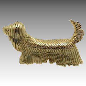 Dog Pin GOld tone PULI Corded Poodle