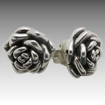 Flower Blossom earrings Pierced Sterling silver