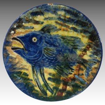 Majolica Fish Plate Decorative Modernist Signed