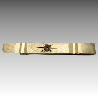 Simple slim tie slide Gold tone metal Rhinestone