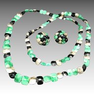 Green black and gold glass bead NECKLACE earrings VOGUE