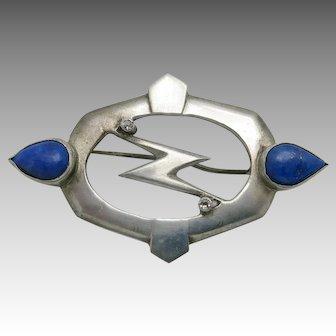 lightening bolt pin Sterling silver Lapis OOAK